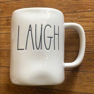 "Rae Dunn white mug ""LAUGH"""